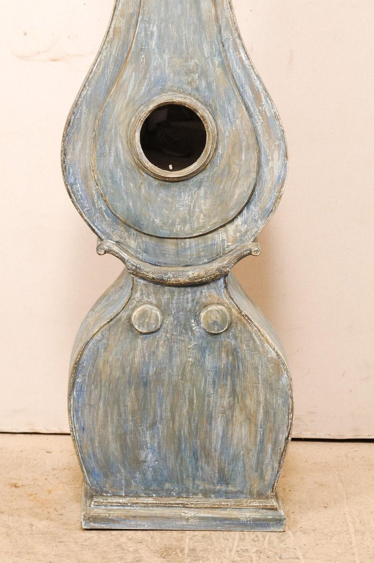 19th C. Swedish Fryksdahl Floor Clock in Blue Hues with Nicely Carved Details For Sale 3