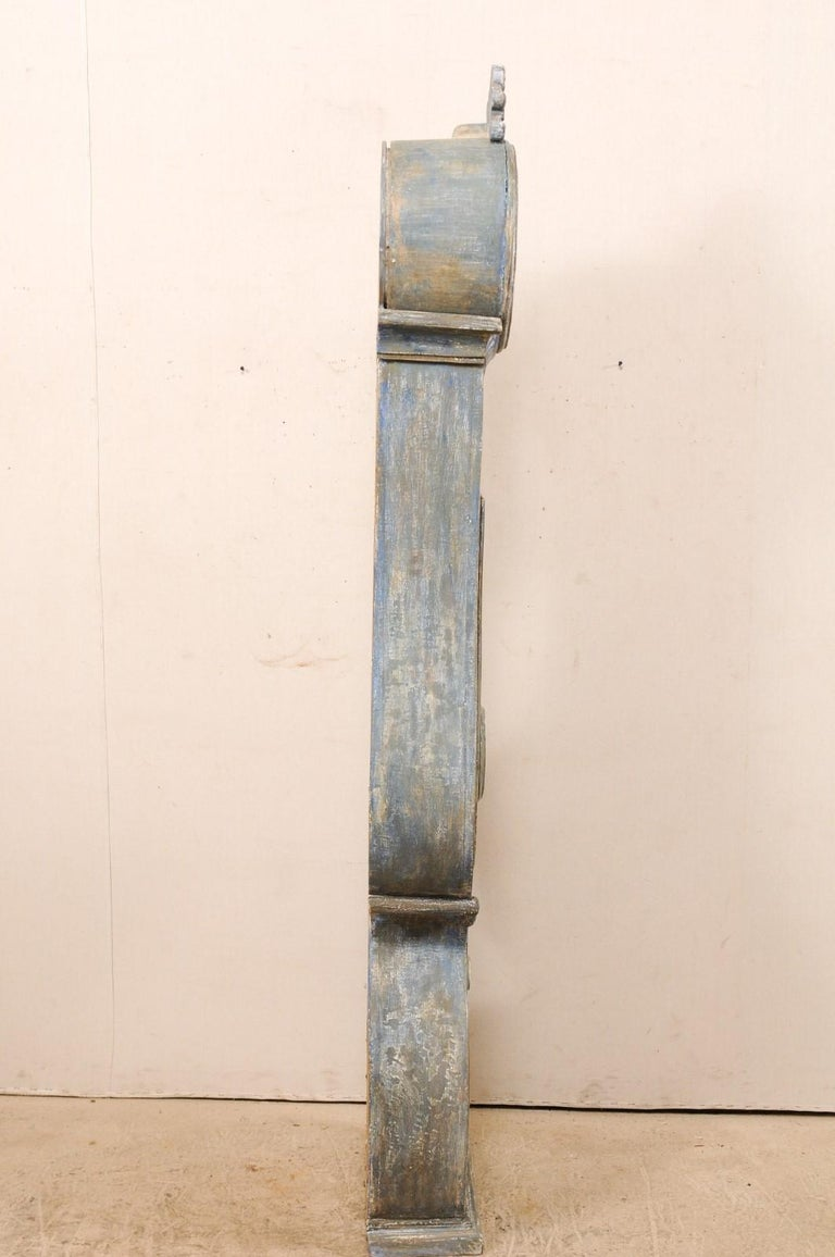 19th C. Swedish Fryksdahl Floor Clock in Blue Hues with Nicely Carved Details For Sale 4