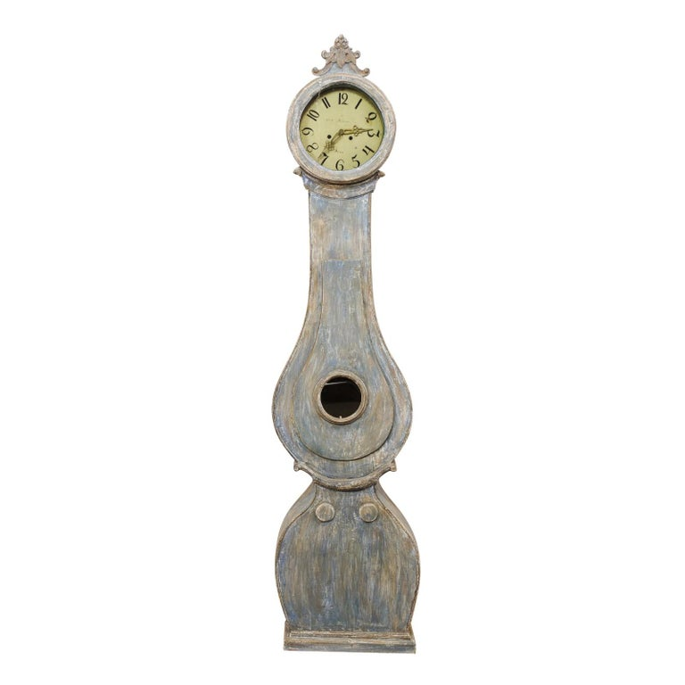 19th C. Swedish Fryksdahl Floor Clock in Blue Hues with Nicely Carved Details For Sale