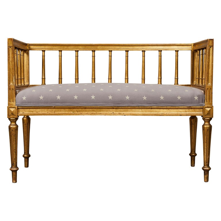 19th Century Swedish Gilded Gustavian Style Bench For Sale