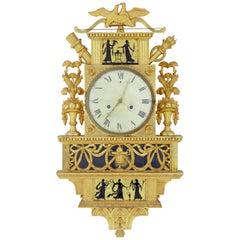 19th Century Swedish Gilt and Églomisé Ornate Wall Clock