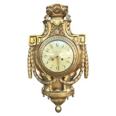 19th Century Swedish Giltwood Wall Clock, Cartel