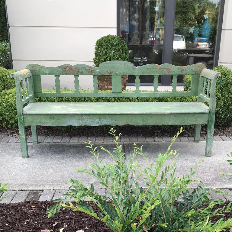 19th century Swedish green garden bench.