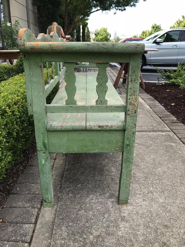 19th Century Swedish Green Garden Bench In Good Condition For Sale In Atlanta, GA