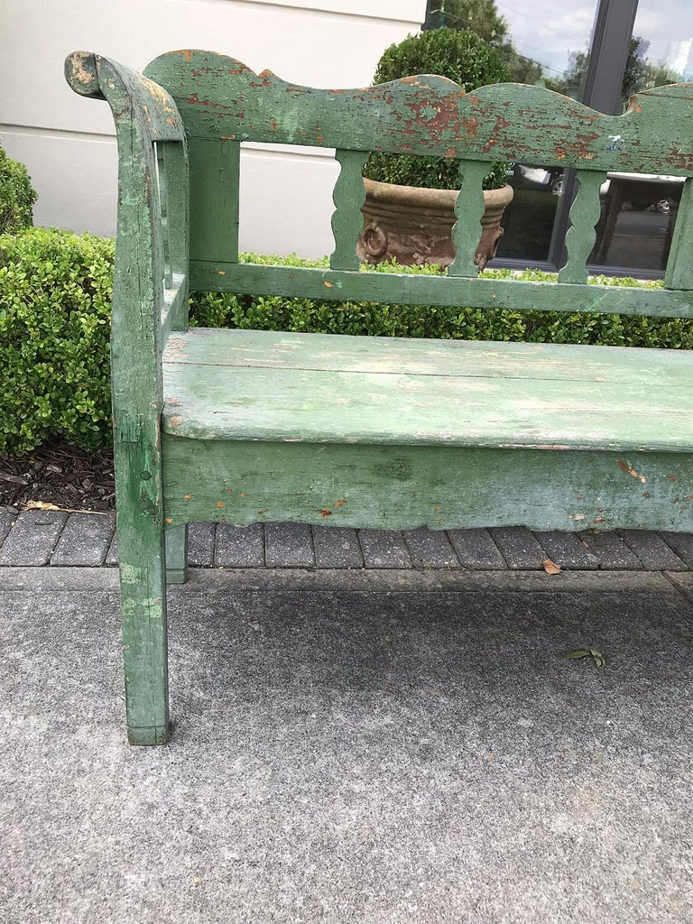 19th Century Swedish Green Garden Bench For Sale 3