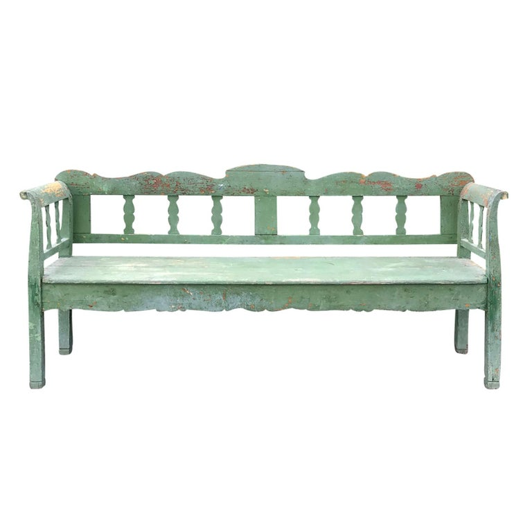 19th Century Swedish Green Garden Bench For Sale