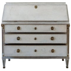 19th Century Swedish Gustavian Bureau or Writing Desk, Pinewood Secretaire