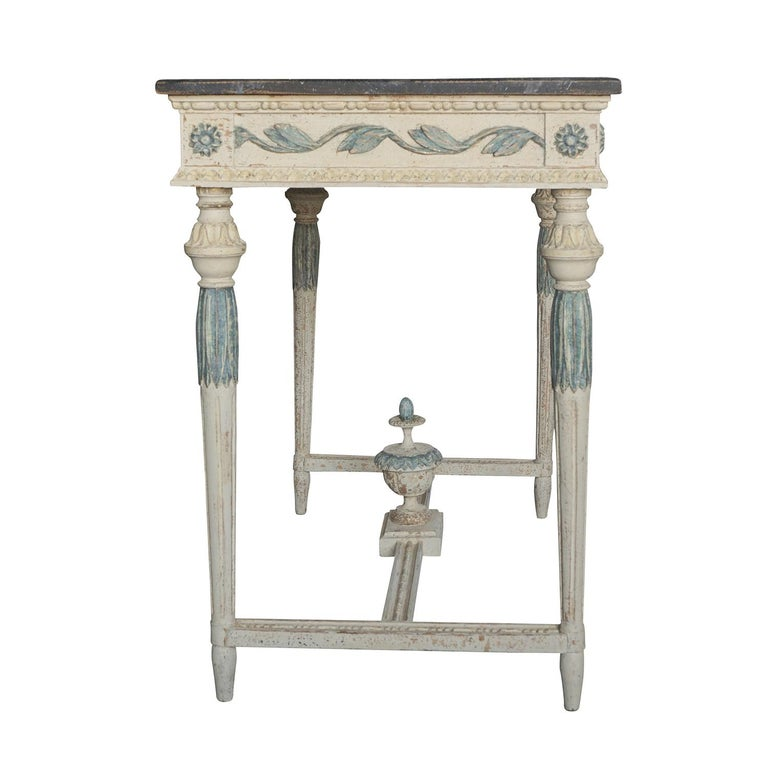 Hand-Carved 19th Century Swedish Gustavian Console Table, Grey Neoclassical Pinewood Table For Sale