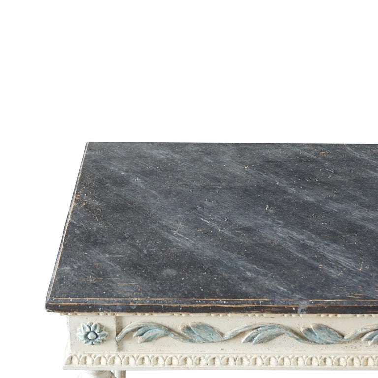 Marble 19th Century Swedish Gustavian Console Table, Grey Neoclassical Pinewood Table For Sale