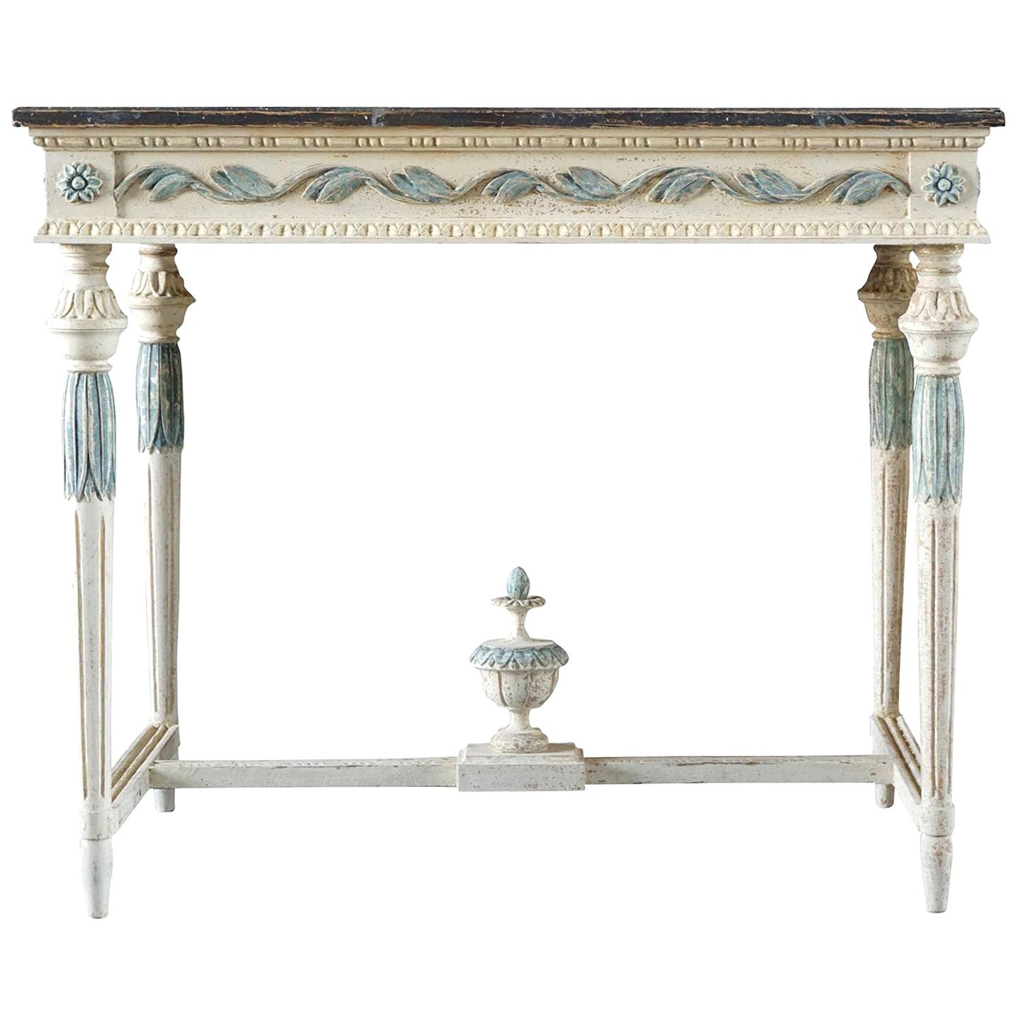 19th Century Swedish Gustavian Console Table, Grey Neoclassical Pinewood Table