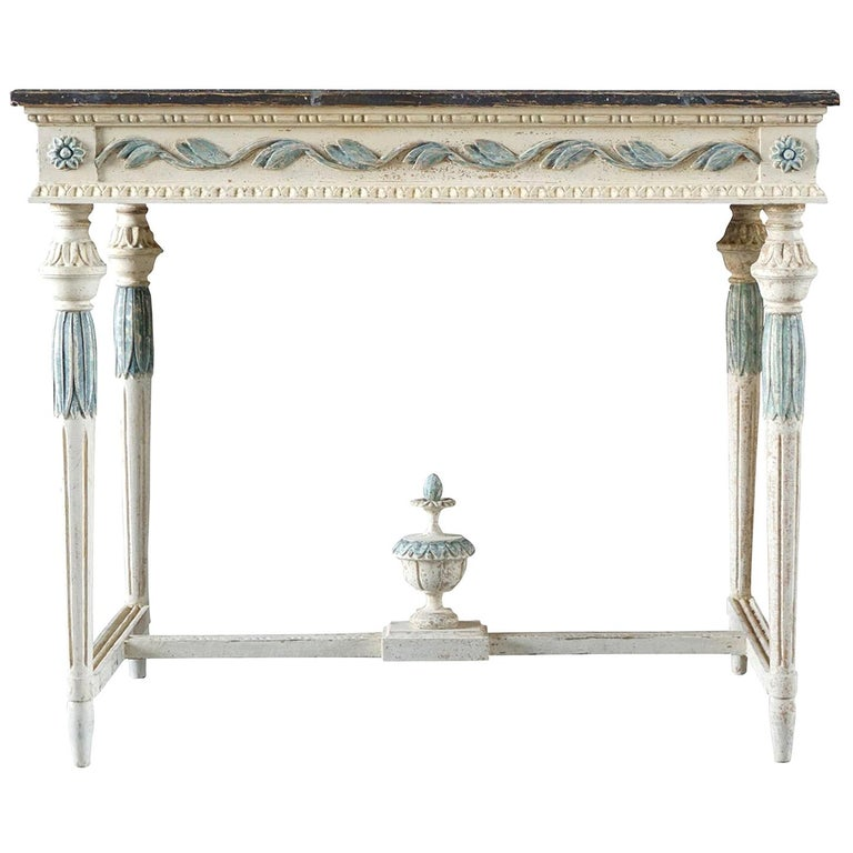 19th Century Swedish Gustavian Console Table, Grey Neoclassical Pinewood Table For Sale