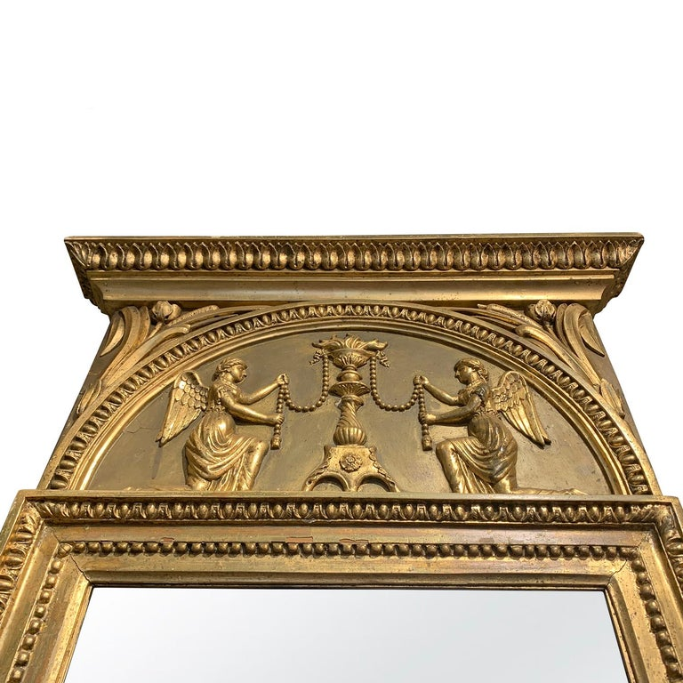 Hand-Carved 19th Century Swedish Gustavian Gilded Wood Wall Mirror For Sale