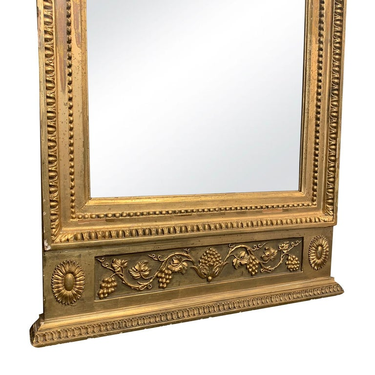 19th Century Swedish Gustavian Gilded Wood Wall Mirror In Good Condition For Sale In West Palm Beach, FL