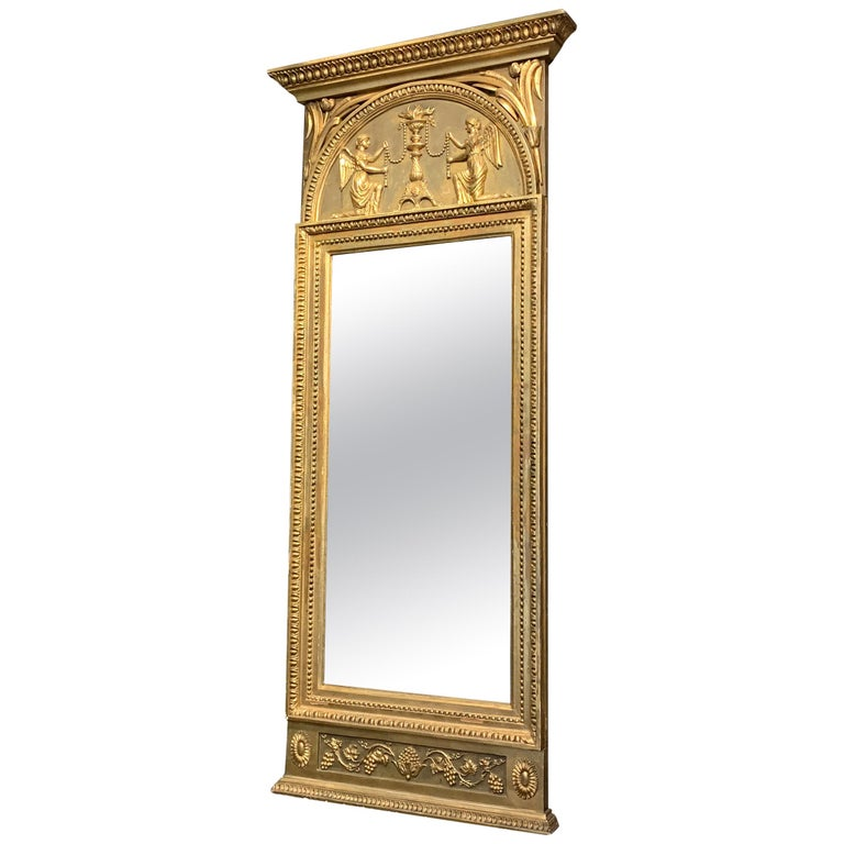 19th Century Swedish Gustavian Gilded Wood Wall Mirror For Sale