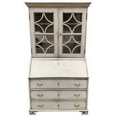 19th Century Swedish Gustavian Glass Top Writers Cabinet