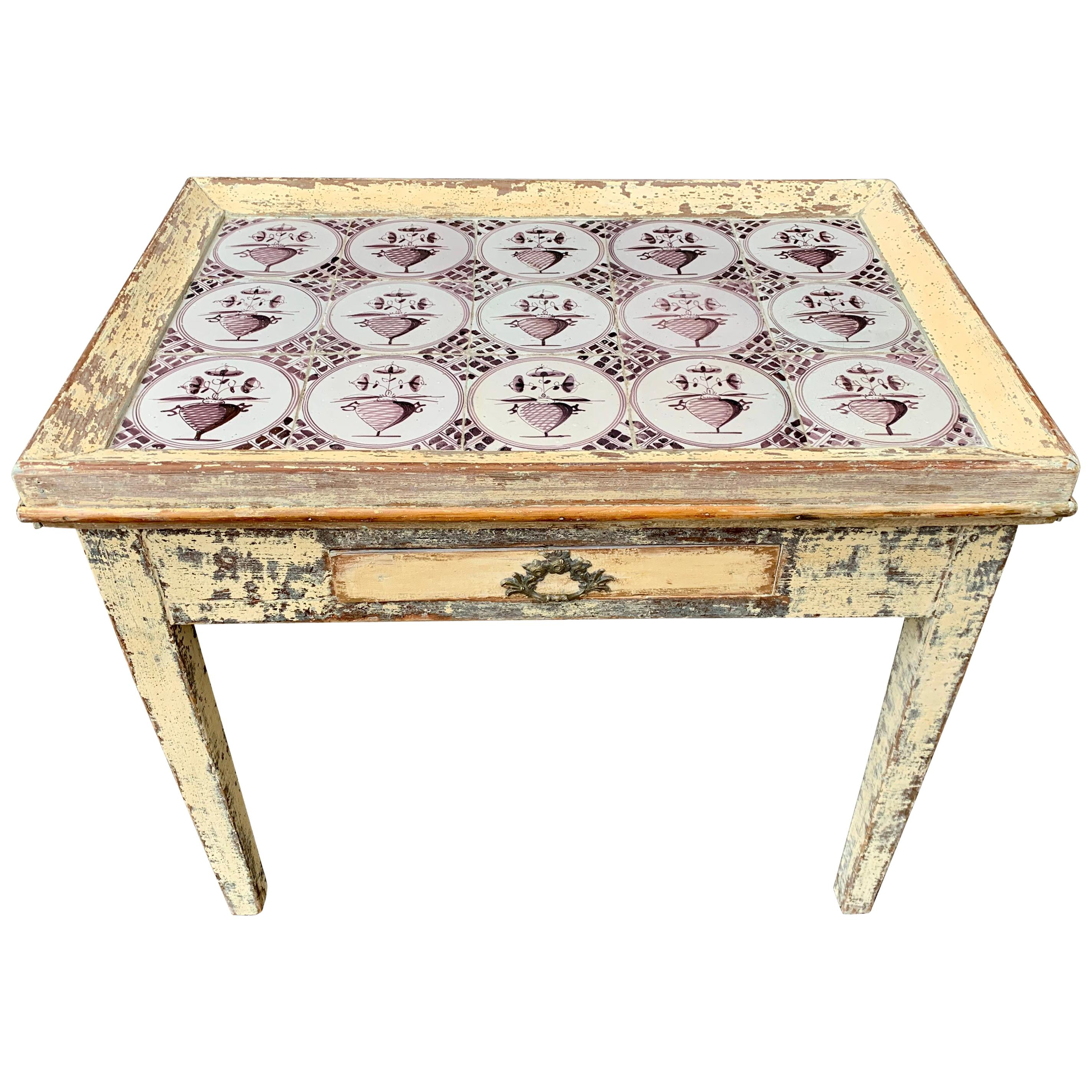 19th Century Swedish Gustavian Painted Delft Tile Table