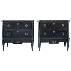 19th Century Swedish Gustavian Pair of Black, Marble Chests, Oakwood Commodes