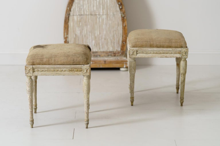 Hand-Carved 19th Century Swedish Gustavian Period Provincial Stools For Sale