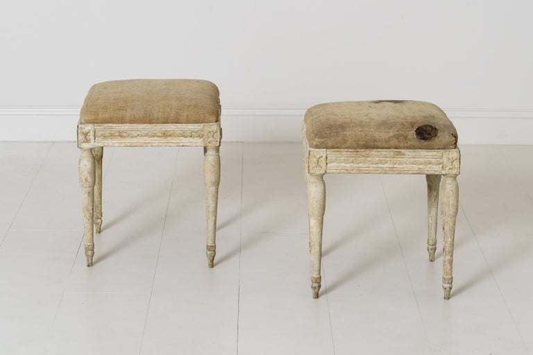 Wood 19th Century Swedish Gustavian Period Provincial Stools For Sale