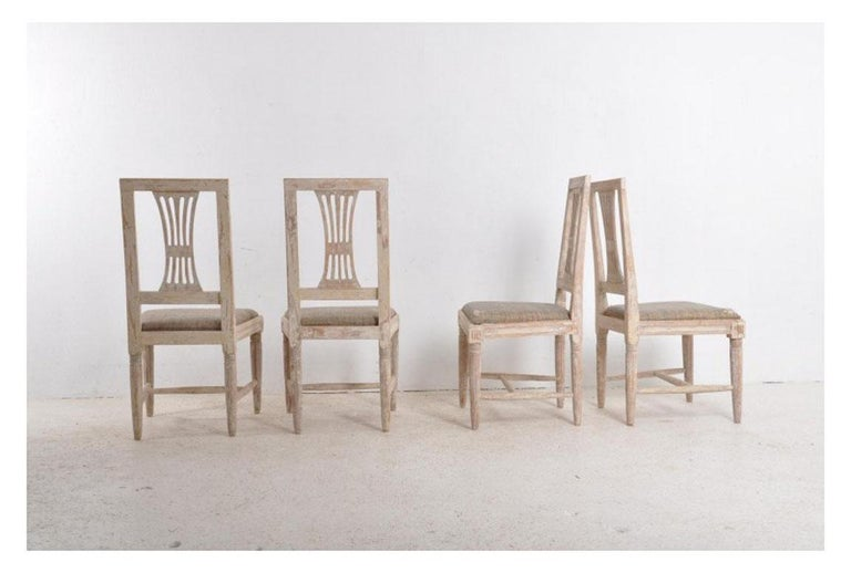 Wood 19th Century Swedish Gustavian Period Set of Four Chairs in Original Paint For Sale