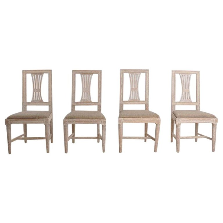 19th Century Swedish Gustavian Period Set of Four Chairs in Original Paint For Sale
