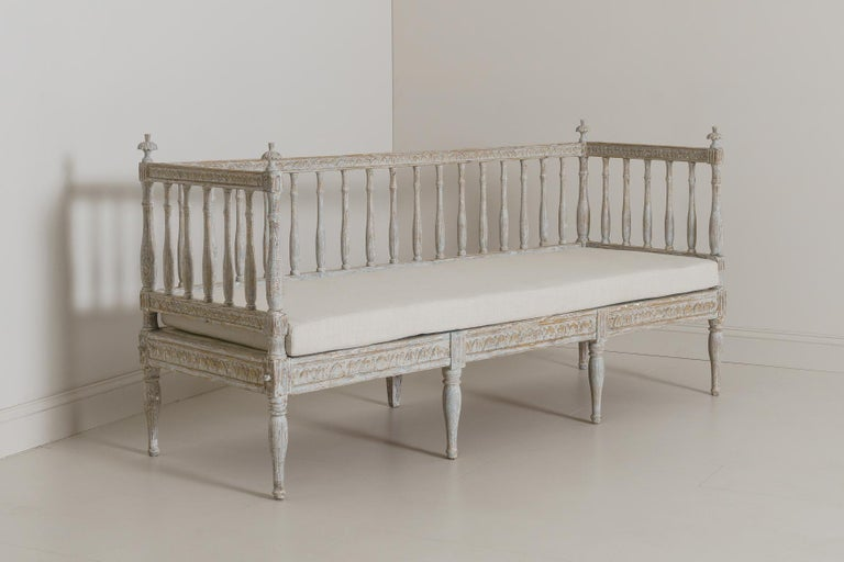 19th Century Swedish Gustavian Period Sofa Bench For Sale 5