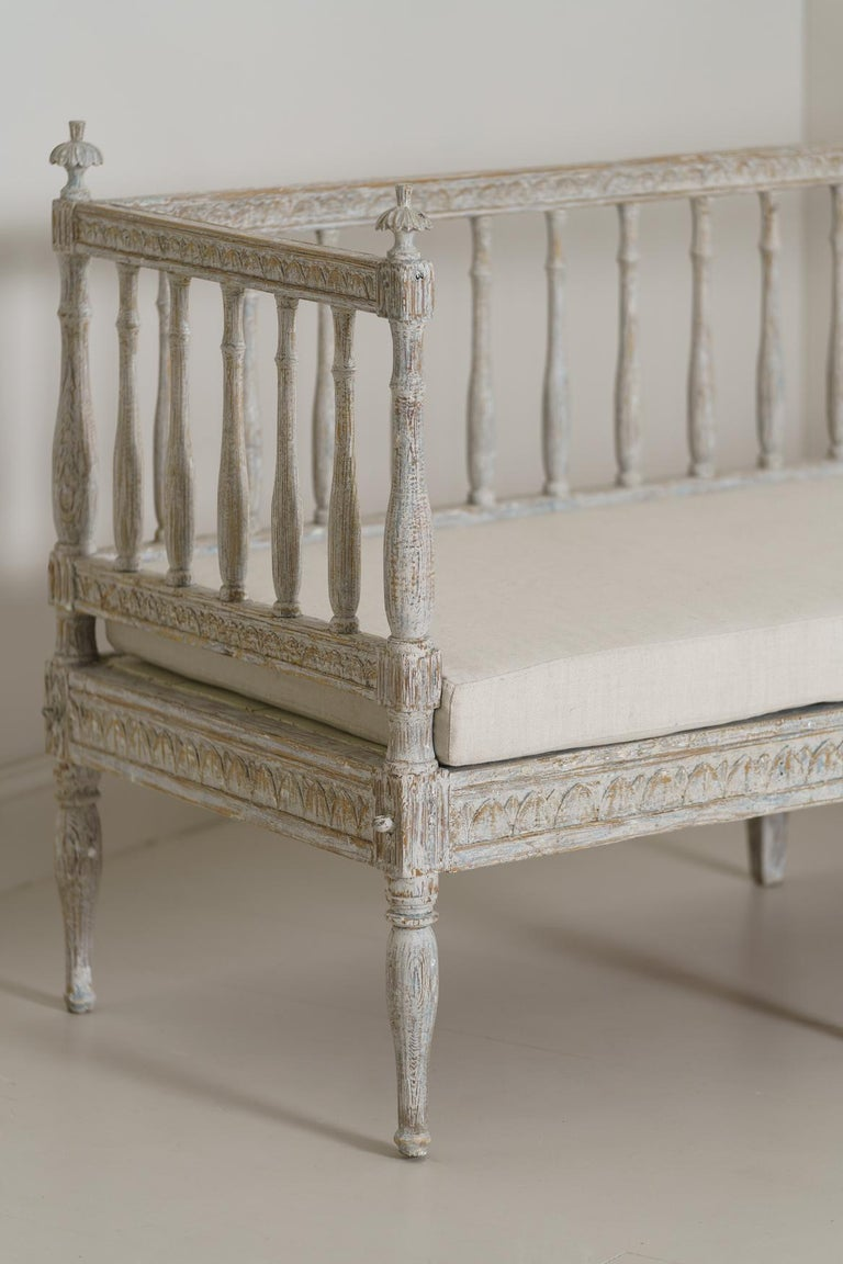 Hand-Carved 19th Century Swedish Gustavian Period Sofa Bench For Sale