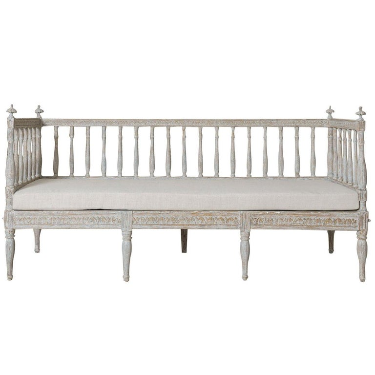 19th Century Swedish Gustavian Period Sofa Bench For Sale