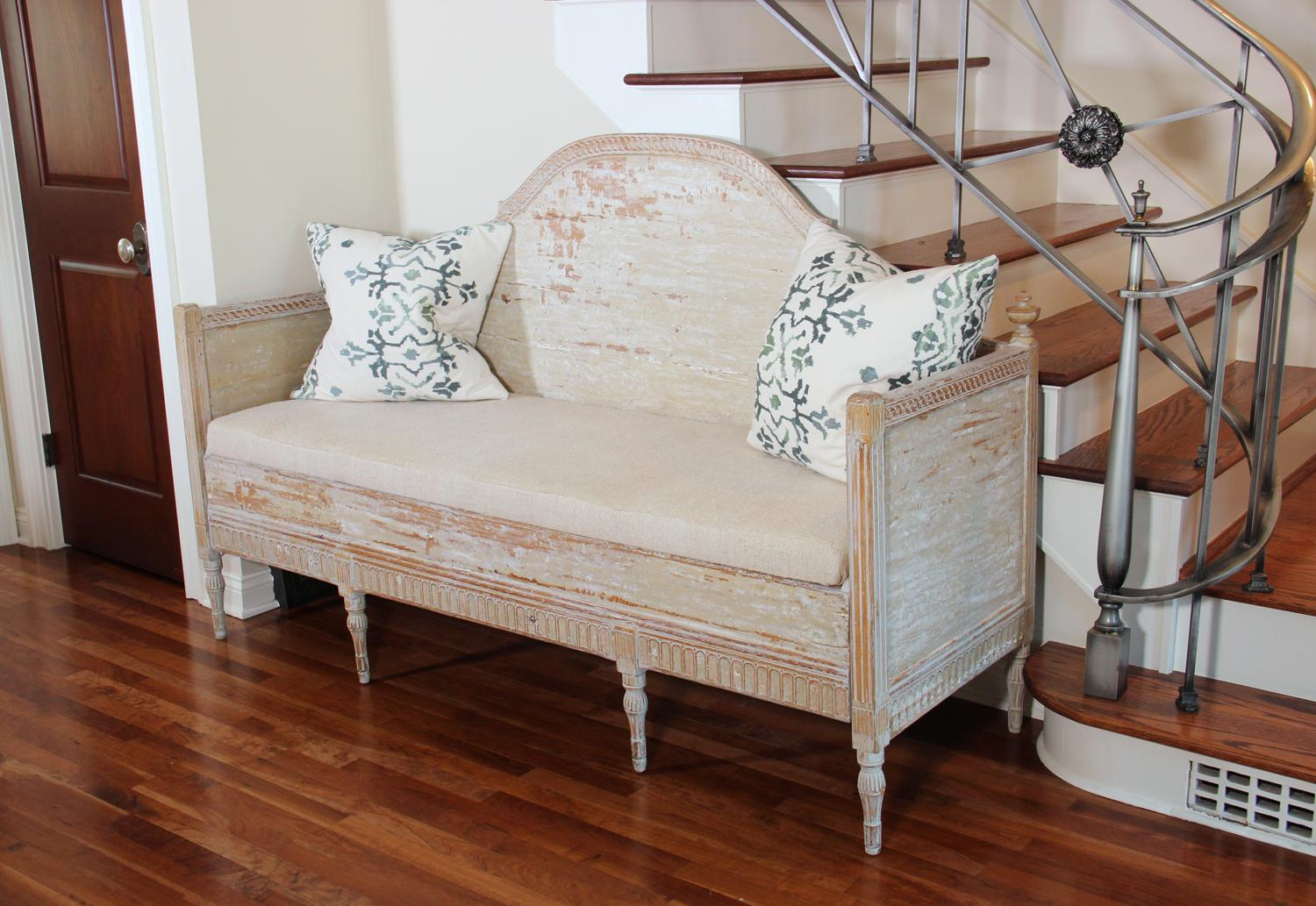 A Swedish Sofa With Pull Out Trundle Bed From The Gustavian Period Hand  Scraped To