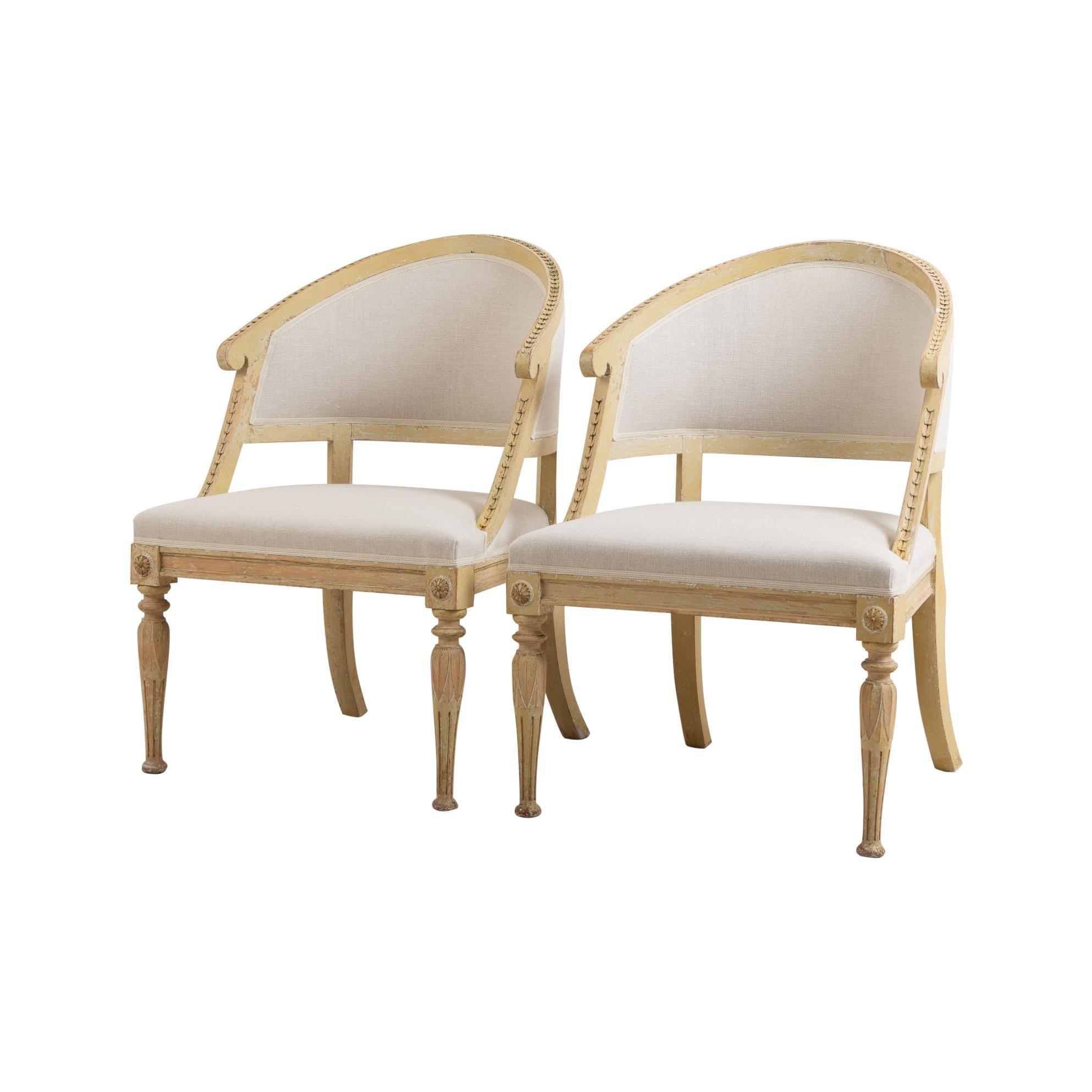 19th Century Swedish Gustavian Style Barrel Back Chairs