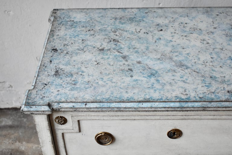 Wood 19th Century Swedish Gustavian Style Chest of Drawer For Sale
