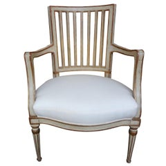 19th Century Swedish Gustavian Style Painted and Gilt Wood Chair