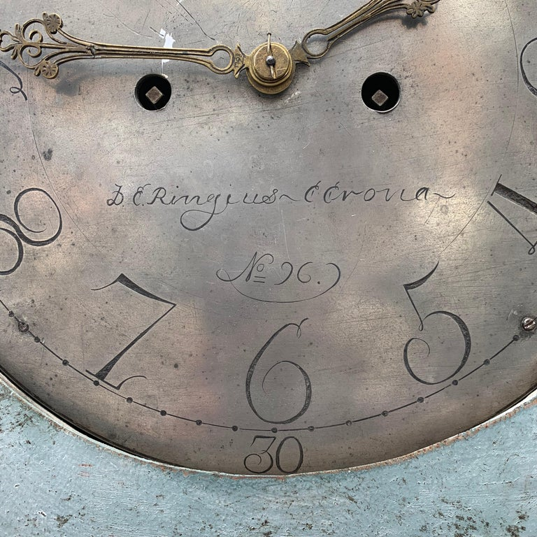 19th Century Swedish Gustavian Style Painted Longcase Mora Clock For Sale 13
