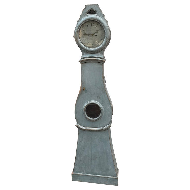 19th century Swedish Gustavian style painted longcase mora clock  Clock-face is made in pewter and signed: