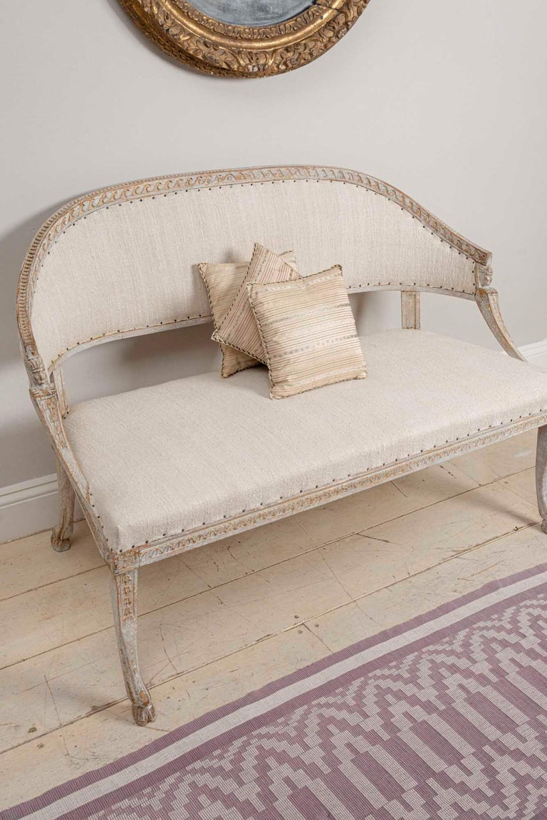 19th Century Swedish Gustavian Two-Seat Swedish Sofa with Decorative Detail For Sale 3