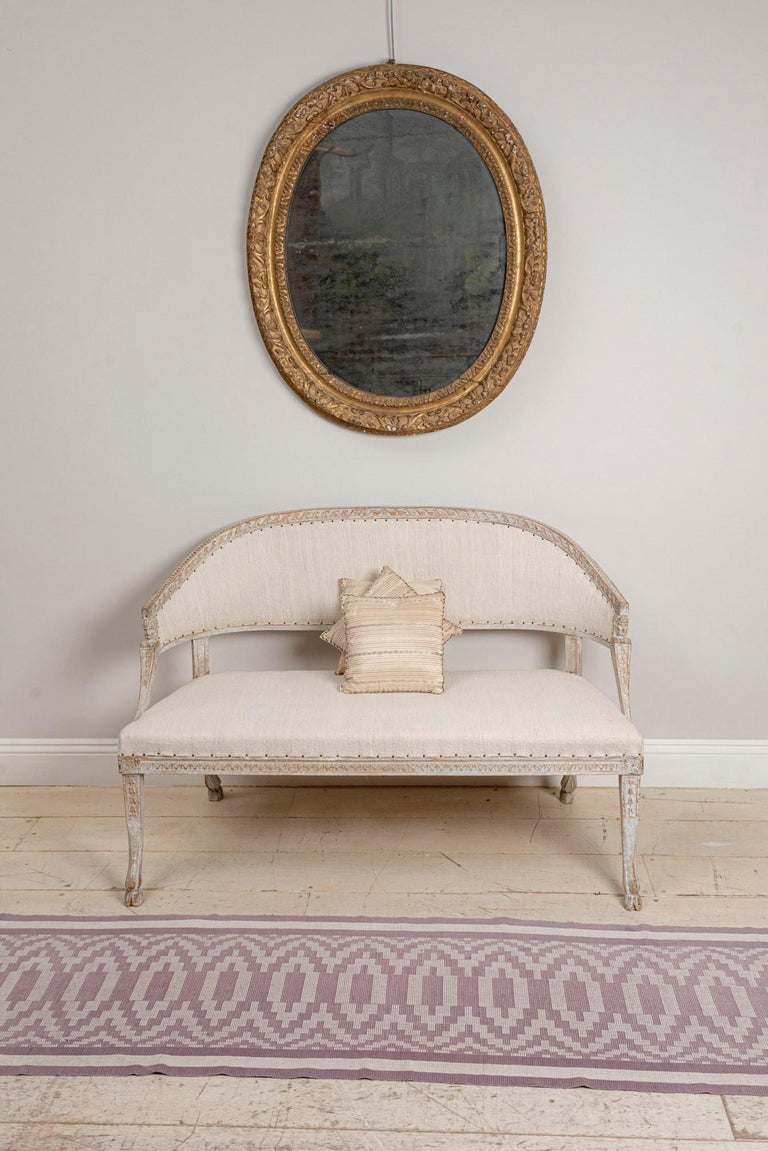 19th Century Swedish Gustavian Two-Seat Swedish Sofa with Decorative Detail For Sale 4