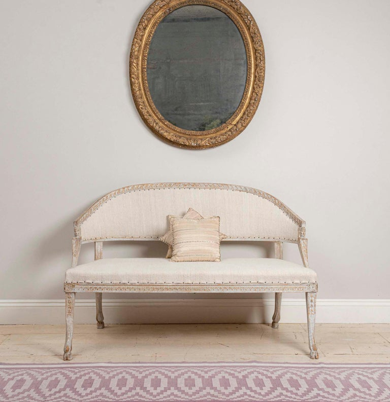19th Century Swedish Gustavian Two-Seat Swedish Sofa with Decorative Detail For Sale 5