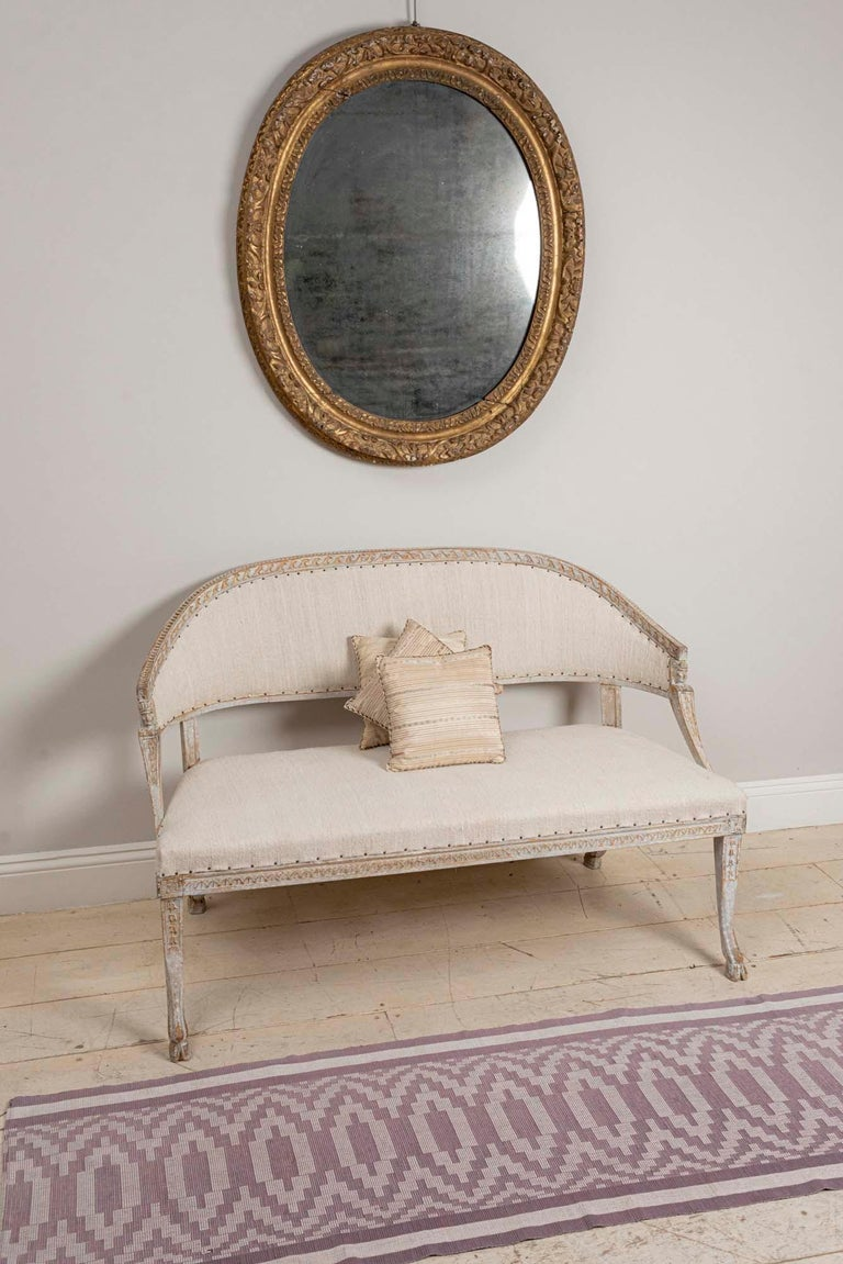 19th Century Swedish Gustavian Two-Seat Swedish Sofa with Decorative Detail For Sale 6