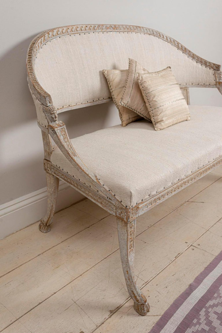 19th Century Swedish Gustavian Two-Seat Swedish Sofa with Decorative Detail For Sale 8