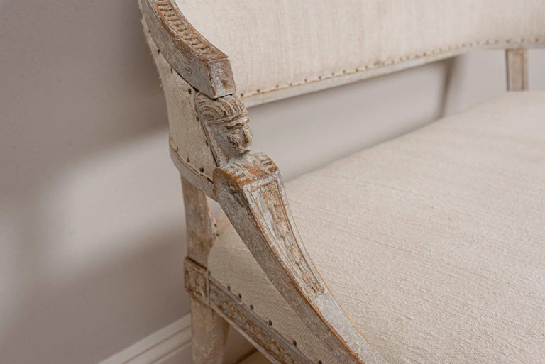Early 19th Century 19th Century Swedish Gustavian Two-Seat Swedish Sofa with Decorative Detail For Sale