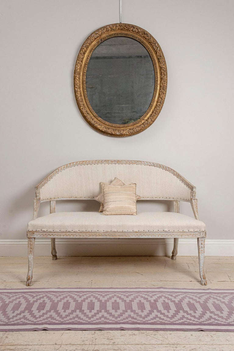 19th Century Swedish Gustavian Two-Seat Swedish Sofa with Decorative Detail For Sale 1