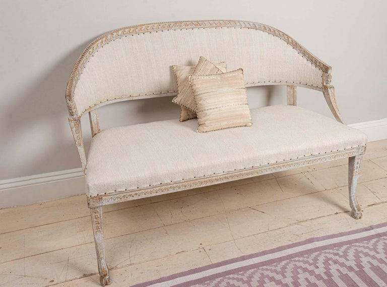 19th Century Swedish Gustavian Two-Seat Swedish Sofa with Decorative Detail For Sale 2