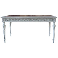 19th Century Swedish Gustavian Writing Desk, Neoclassical Grey Pinewood Table