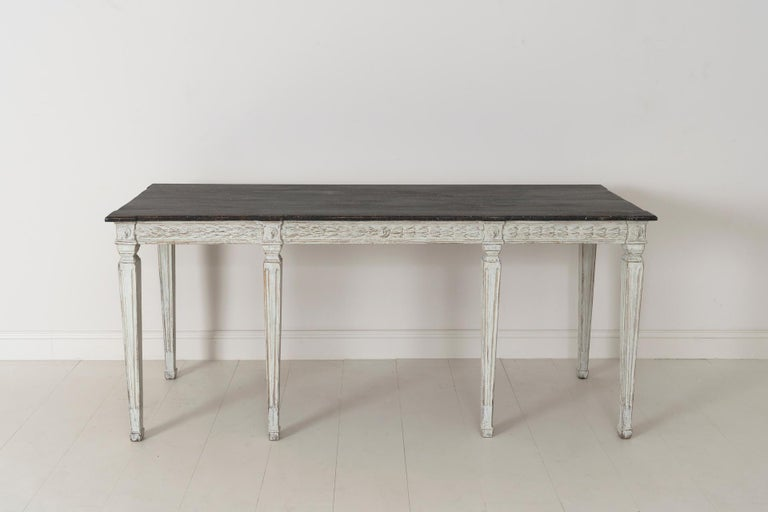 19th Century Swedish Late Gustavian Console Table with Hand Painted Porphyry Top For Sale 6