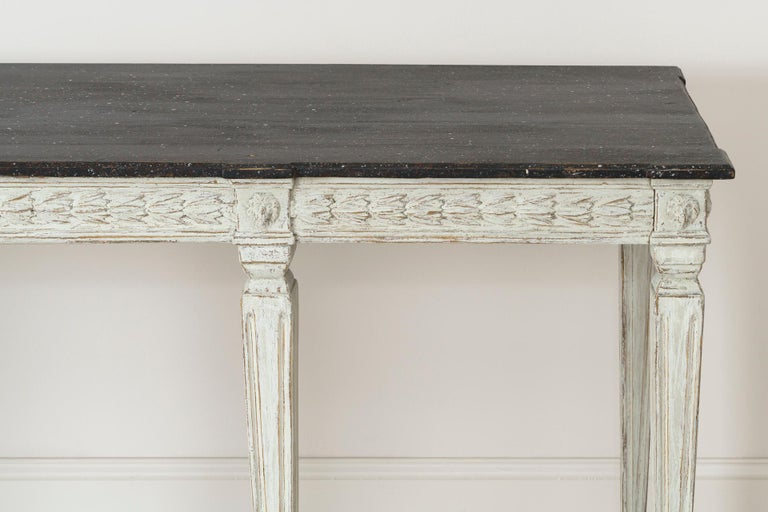 19th Century Swedish Late Gustavian Console Table with Hand Painted Porphyry Top For Sale 7