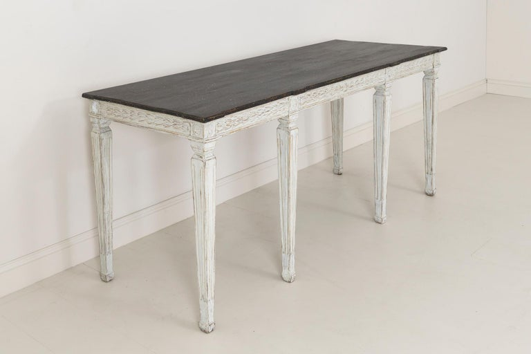 19th Century Swedish Late Gustavian Console Table with Hand Painted Porphyry Top For Sale 8