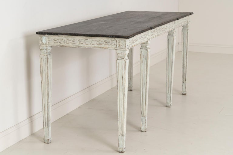 19th Century Swedish Late Gustavian Console Table with Hand Painted Porphyry Top For Sale 9