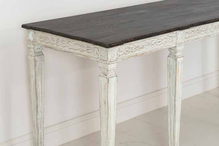 19th Century Swedish Late Gustavian Console Table with Hand Painted Porphyry Top For Sale 10