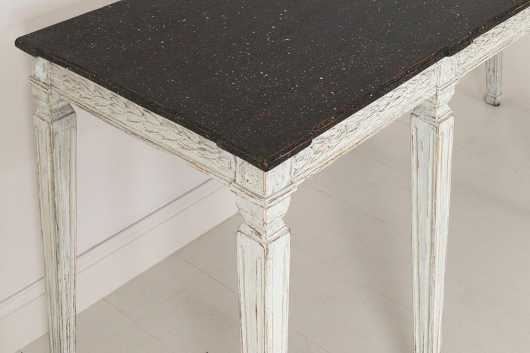 19th Century Swedish Late Gustavian Console Table with Hand Painted Porphyry Top For Sale 11