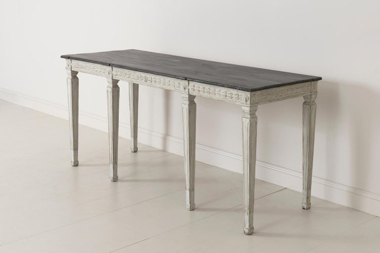 19th Century Swedish Late Gustavian Console Table with Hand Painted Porphyry Top For Sale 13
